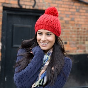 Winter Essentials Knitted Flute Pom Pom Hat