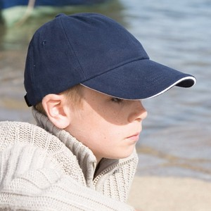 RESULT JUNIOR LOW PROFILE HEAVY BRUSHED COTTON CAP WITH SANDWICH