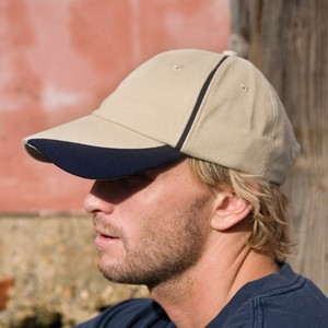 BRUSHED COTTON CAP WITH SCALLOP PEAK AND CONTRAST TRIM
